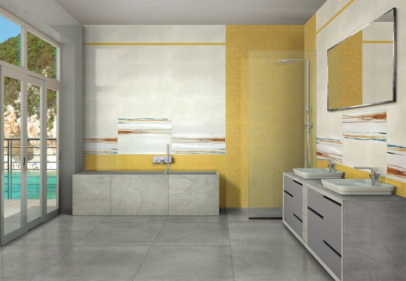 Colors bianco 25x75 / Colors giallo 25x75 / Colors paint arancio decoro 25x75 Colors giallo bacchetta 3,2x75 / Colors giallo mosaico 29,5x29,5 / Stage grey rettificato 75x75 FLOOR: Stage grey rettificato 75x75