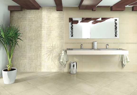 Ono beige 32,5x65 / Graphic beige decoro 32,5x65 / Graphic beige listello 4,5x65 FLOOR: Stage cream rettificato 60x60