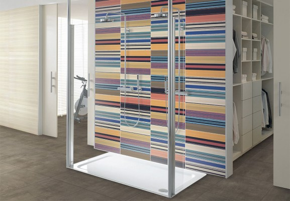 Shore pergamon 25x75 / Shore arty decoro 25x75 / FLOOR: Trust canvas 60x60